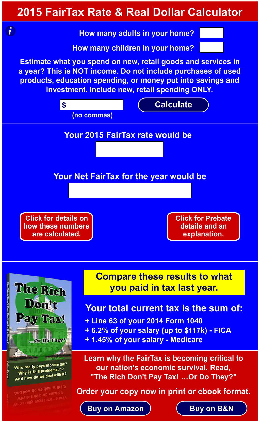 FairTax Rate and Real Dollar Calculator